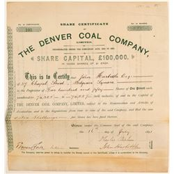 Denver Coal Company, Ltd. Stock Certificate  (106892)