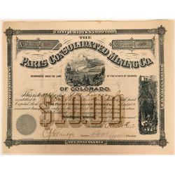 Paris Consolidated Mining Co. Colorado Stock Certificate  (117377)