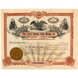 Little Bernice Gold Mining Co. Stock Certificate, Silver Cliff, CO, 1903  (58535)