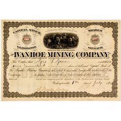 Ivanhoe Mining Company Stock Certificate, Colorado, 1883  (58412)