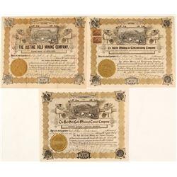 Three 1890s Colorado Mining Stocks with the Same Vignette  (58554)