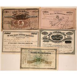Five Varied Colorado Stock Certificates  (117374)