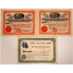 Three Big Creek District, Idaho Mining Stock Certificates  (107524)