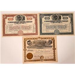Three Different Shoshone, Idaho Mining Stock Certificates  (107527)