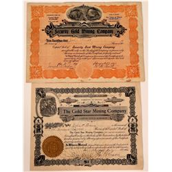 Two Different Silver City, Idaho Mining Stock Certificates  (107523)