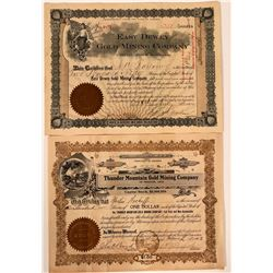 Two Different Thunder Mountain, Idaho Mining Stock Certificates  (107526)