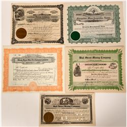 Five Different Wallace, Idaho Mining Stock Certificates  (107503)