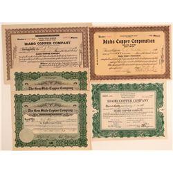 Five Idaho Copper Mining Stock Certificates  (106682)