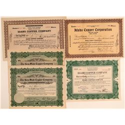 Five Idaho Copper Mining Stock Certificates  (106682)