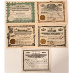 Idaho Copper Mining Stock Certificates (5)  (107537)