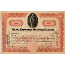 King Edward Silver Mines Stock with great King Edward vignette  (119393)