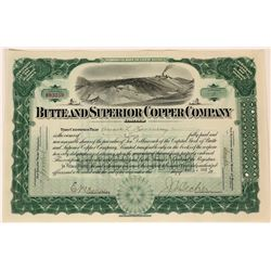 Butte & Superior Copper Co. Ltd Stock Certificate, Montana, 1912  (111831)