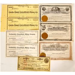 Mining stock from Eureka, NV - 8 certificates  (91053)