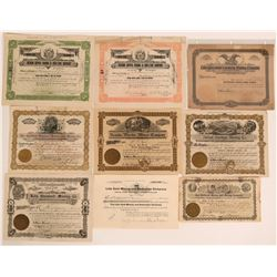 Lida, Nevada Stock Certificates- Group of 9 Different  (110086)