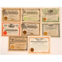 Manhattan, Nevada Mining Stock Group, Rare (8)  (111660)