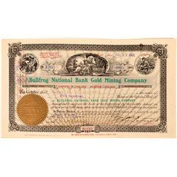 Bullfrog National Bank Gold Mining Co. Stock Certificate - Nice Looking!  (119402)