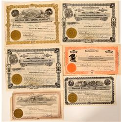 Six Weepah, Nevada Stock Certificates - Last Gold Rush in the West  (105947)