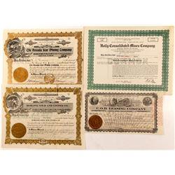Four Nevada Stock Certificates  (84612)