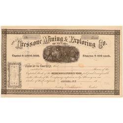Kressone Mining & Exploring Co. of Nevada Stock Certificate  (106919)
