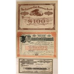 Three Nevada Stock Certificates: Comstock Tunnel, Curtis Consolidated and Carson City Savings Bank
