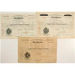 Copper Knob Mining Company Stocks: Lot of Three  (83942)