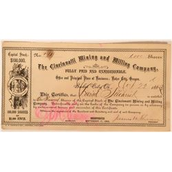 Cincinnatti Mining and Milling Company Stock Certificate  (118054)