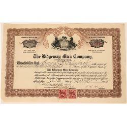 Ridgeway Mica Company Stock, Ridgeway, VA. 1916  (111824)