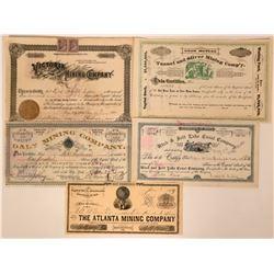 Five Utah Mining Stock Certificates  (118032)