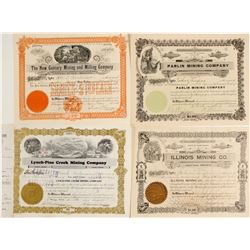 Four Different Mining Stock Certificates  (60021)