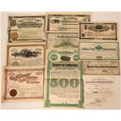 Ten Different Western Mining Stock Certificates & Bonds  (117189)