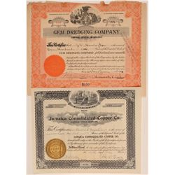 Two Foreign Mining Stock Certificates: Jamaica and Brazil  (106773)