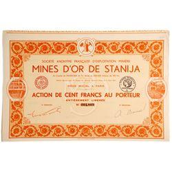 Mines D'or De Stanija Bond Certificate (French company of the Stanija Gold Mines)  (81819)
