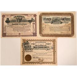 Three Different Baja California Mining Stock Certificates  (107581)