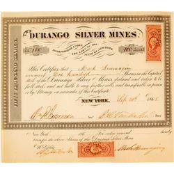 Durango Silver Mines Stock Certificate, San Dimas, Durango, 1865  (58470)