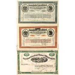 Three Different Guanajuato Cons. Mining & Milling Co. Stock Certificates  (58472)