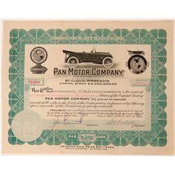 Pan Motor Company Stock Certificate  (113240)