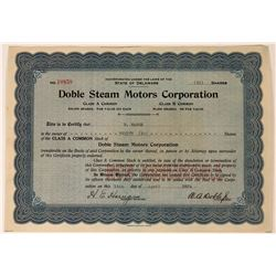 Doble Steam Motors Corporation Stock Certificate  (111833)