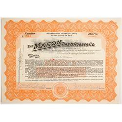 Mason Tie & Rubber Co Stock Certificate  (83868)