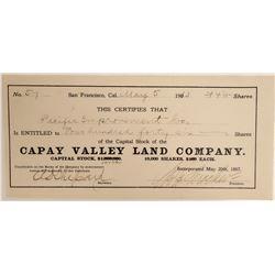Capay Valley Land Company Stock  (105910)