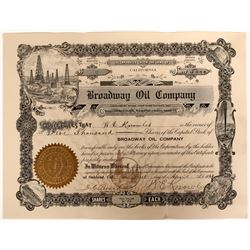 Broadway Oil Co. Stock, Kern River, Signed by W.E. Knowles, Noted Oakland Businessman  (110054)