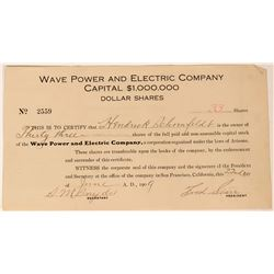 Wave Power and Electric Company Stock, San Francisco, 1909  (111822)