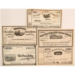 Nice Group of Pictorial California Stock Certificates  (113262)