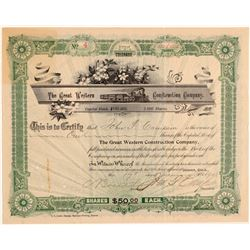 Great Western Construction Company Stock Certificate  (106891)