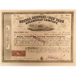 Clean Vignette Boston, Newport and New York Steamboat Company Stock Certificate  (118037)