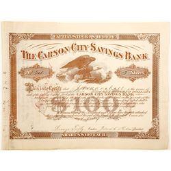 Carson City Savings Bank Stock Certificate  (91030)