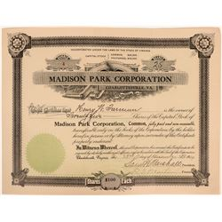 """Madison Park Corporation"" Stock  (119422)"