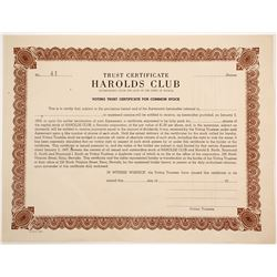 Harolds Club Stock Certificate (90578)