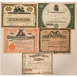 Five Marine Stock Certificates  (118035)