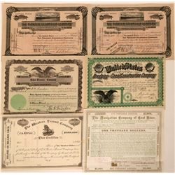 Six Marine Stock Certificates and Bonds  (118033)