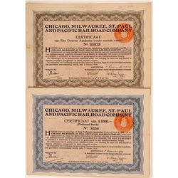 Chicago, Milwaukee, St Paul & Pacific Railroad Co Dutch Certificates (2)  (111232)